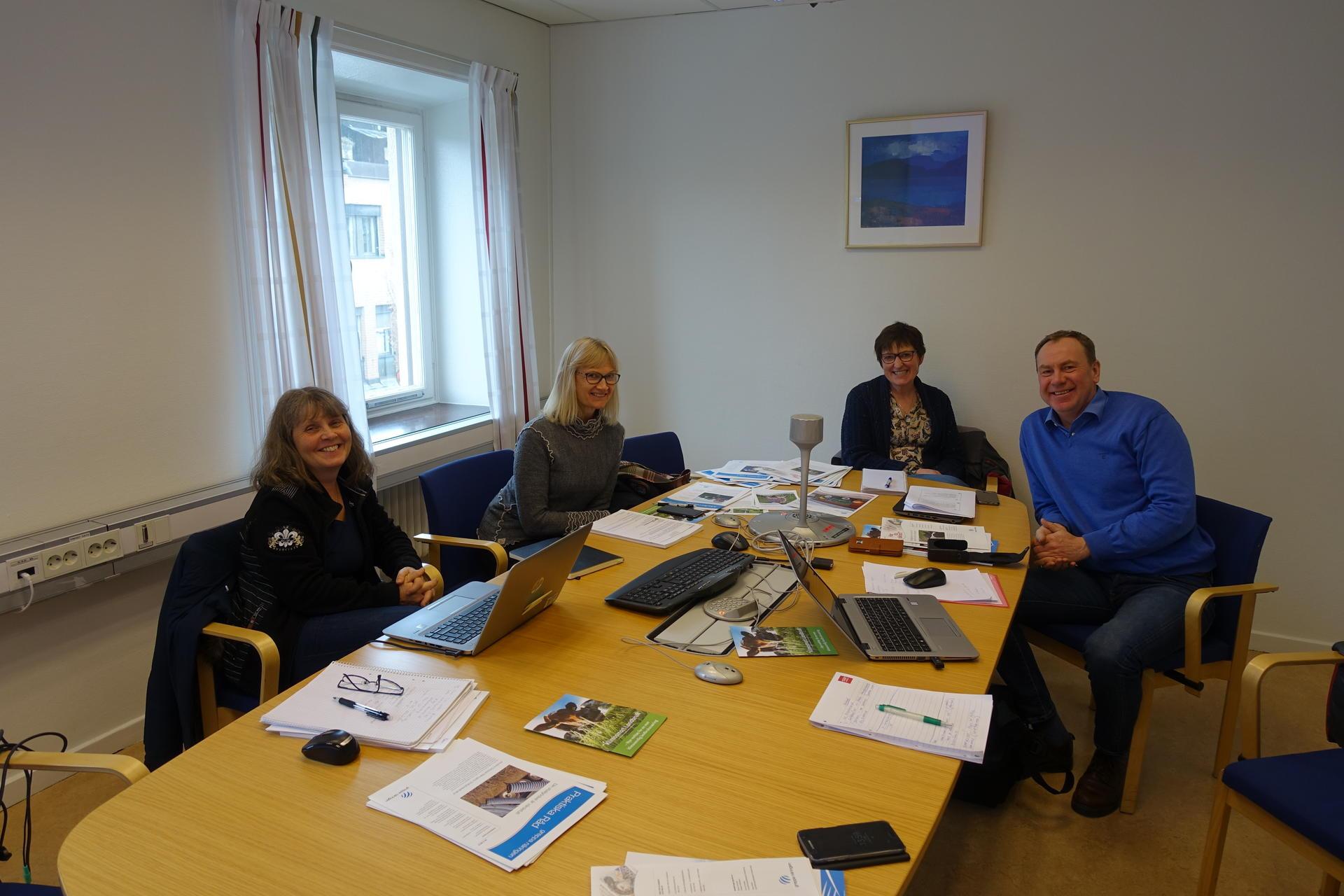 På studietur i Sverige. Fra venstre:Maria Stenberg (Jordbruksverket), Tone Roaldskvam (TINE), Lis Eriksson (Jordbruksverket) og Tony Barman (Klimasmart Landbruk)